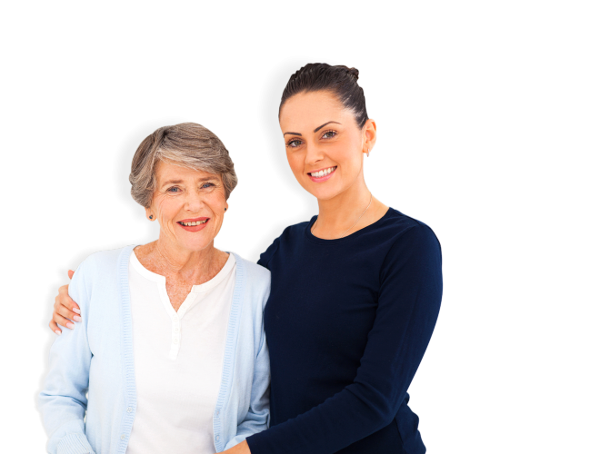 Elderly woman with lady caregiver in dark blue dress